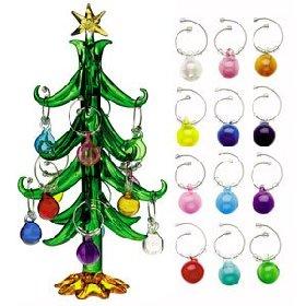 christmas tree wine charms - Christmas Wine Charms